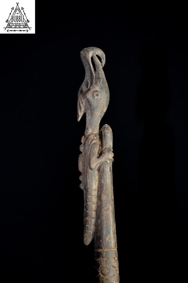 Stunning Carved Sago Taro Food Pounder w/ Totemic Bird (1 of 2)