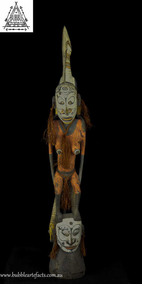 Beautiful Fine Rare Vintage Carved Mens House Gable Finial, Palembai,  Middle Sepik