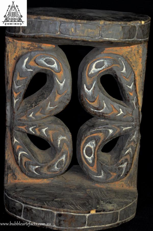 Rare Fabulous Carved Wood Round Ornate Stool, Black Water Region, East Sepik