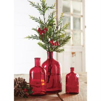 red bottleneck vase