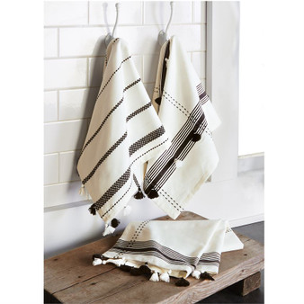 Black & White Tassel Towels