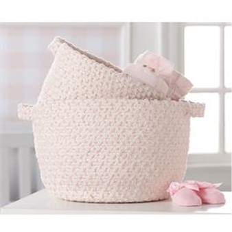Pink Chenille Rope Basket Set of 2