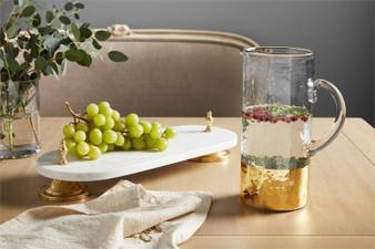 Gold Pedestal Marble Platter
