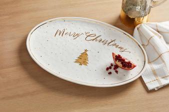 gold tree christmas platter