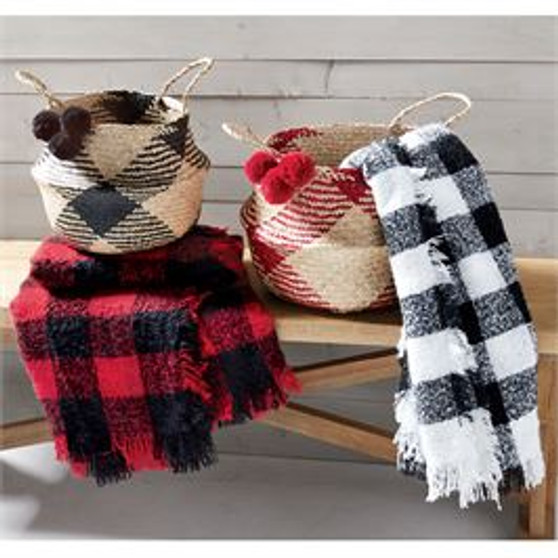 Red & Black Boucle Throw