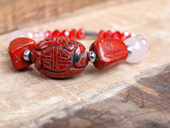 Red jasper with rose quartz bracelet and crystals