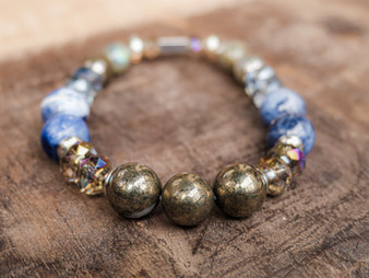 Fortune - Pyrite and Sodalite Bracelet