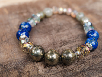 Money Making - Pyrite and Lapis Lazuli Bracelet