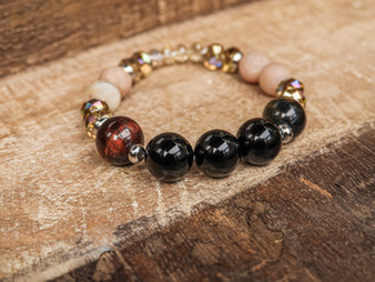 I'm Strong - Onyx and Tiger Eye Bracelet