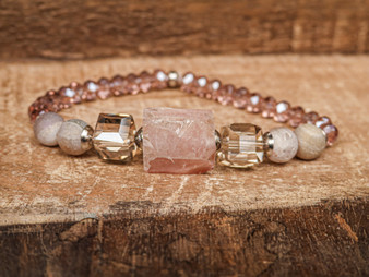 Love Me More - Rose Quartz & Druzy Bracelet