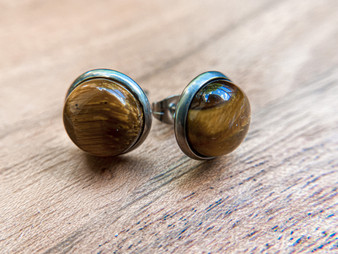 Tiger Eye Earrings - 10mm