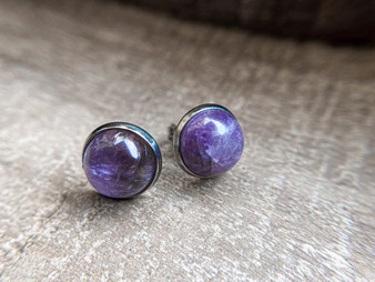 Amethyst Earrings - 10mm