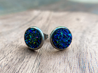 Royal Blue Druzy Earrings - 10mm