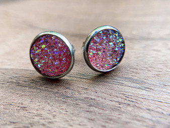 Cute Pink Druzy Earrings