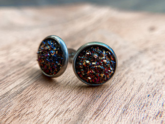 Antique Bronze Druzy Earrings