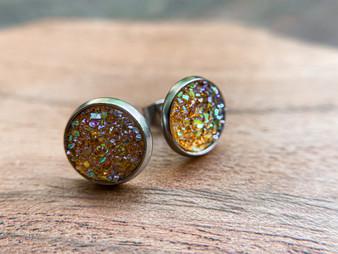 Goldie Amber Druzy Earrings