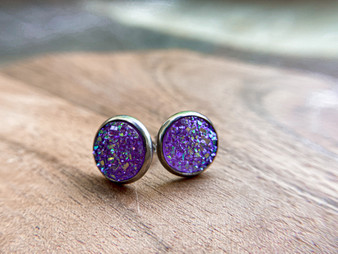 Light Lavender Druzy Earrings