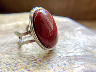 Red Jasper Oval Ring