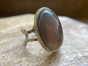 Grey Agate Oval Ring