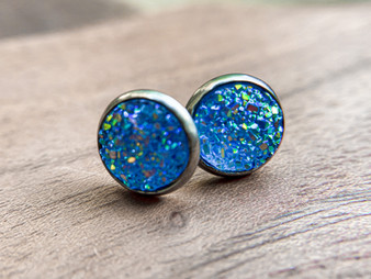 Baby Blue Druzy Earrings