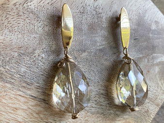 Sparkling Drop - Champagne - Gold Filled Earrings