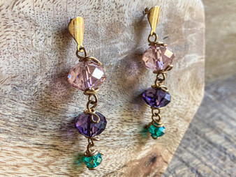 Multicolor Crystal Earrings - 14k Gold Filled