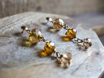 Gold Tone Crystal Earrings - 14k Gold Filled