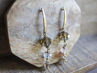 Smokey Gray Tone Crystal Earrings - 14K Gold Filled