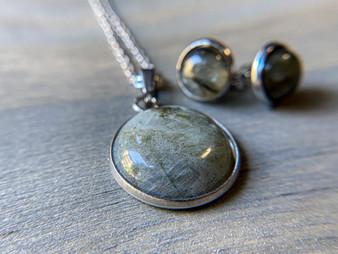 Classy Labradorite Necklace & Earrings