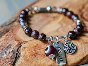 Faith - Red Garnet & Evil Eye Bracelet
