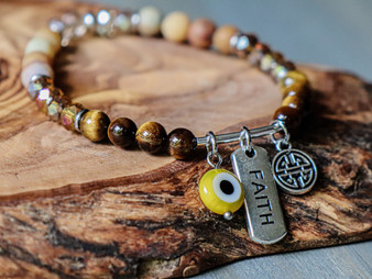Faith - Tiger Eye & Yellow Evil Eye Bracelet