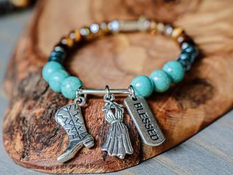 We Love Texas - Blessed- Turquoise & Tiger Eye Bracelet