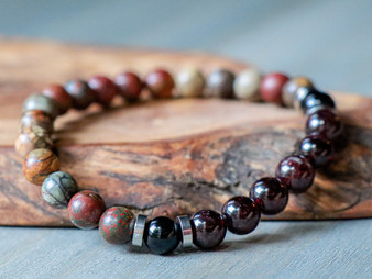 Gentlemen - Picasso Jasper and Dark Red Garnet Bracelet