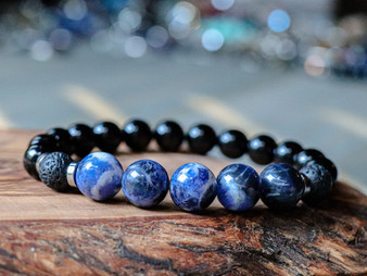 Adventurous - Sodalite, Lava Stone and Black Onyx Bracelet