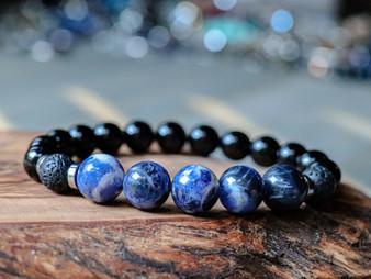 Adventurous - Sodalite, Lava Stone and Black Onyx Bracelet