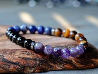 Confident - Tiger Eye, Sodalite, Black Onyx, Amethyst Bracelet