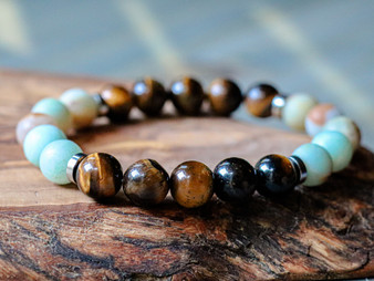 So Relaxed -  Aquamarine & Tiger Eye Bracelet