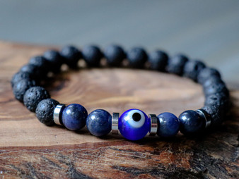 Good Vibes - Blue Evil Eye, Sodalite & Lava Stone Bracelet