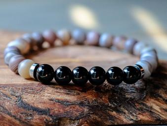Too Charming - Black Onyx & Botswana Agate Bracelet