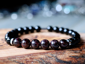 City Life- Red Garnet & Black Onyx Bracelet