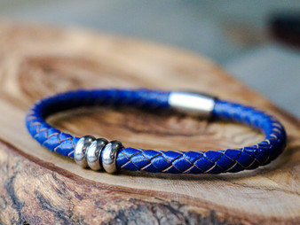 Trio Royal Bluel Leather Bracelet
