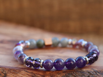 Blessed and Grateful - Amethyst and Labradorite Bracelet
