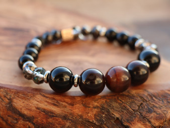 Be Joyful  - Onix and Tiger Eye Bracelet