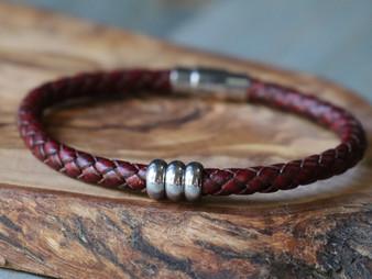 Trio Burgundy Leather Bracelet