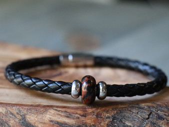 Mahogany Obsidian Stone - Black Leather Bracelet