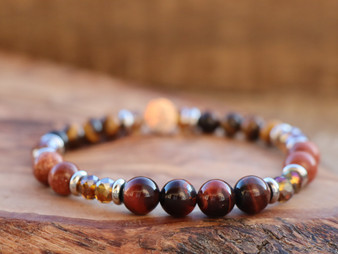 Golden Heart - Tiger Eye and Goldstone Bracelet