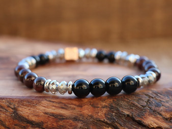 Stay Strong - Dark Red Garnet and Black Onix Bracelet