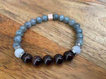 Victorious - Red Garnet - Labradorite and Moonstone Bracelet