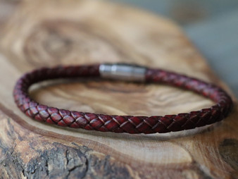Essential Burgundy Leather Bracelet