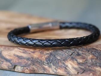 Essential Black Leather Bracelet